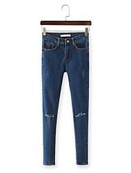 Women's Solid / Print Blue Jeans Pants,Simple