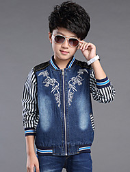 Boy's Cotton Spring/Autumn Fashion Cartoon Print Stripes Cowboy Outerwear Long Sleeve Sport Denim Baseball Jacket Coat
