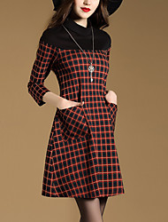 Women's Going out Street chic A Line Dress,Plaid Crew Neck Above Knee ¾ Sleeve Red Polyester Fall