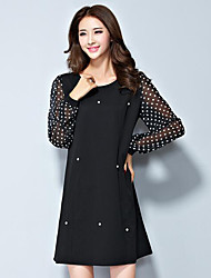 Women's Plus Size / Casual/Daily Street chic Shift Dress,Patchwork Round Neck Above Knee Long Sleeve  Polyester Spring
