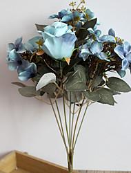 1 Une succursale Polyester Plastique Roses Fleur de Table Fleurs artificielles 36(14.1'')