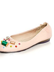 Women's Flats Spring / Fall Ballerina / Round Toe Leather Casual Flat Heel Beading Pink / White