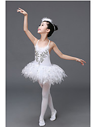 Ballet Outfits Children's Performance Polyester Crystals/Rhinestones 1 Piece White Ballet Sleeveless Natural Dress