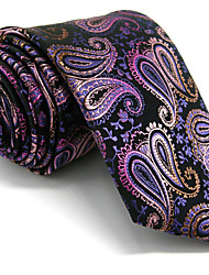 Men's Paisley  Tie  Purple Jacquard Woven 100% Silk Business Dress Casual Long