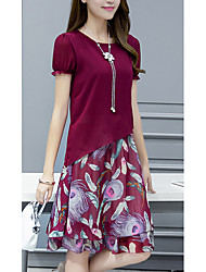 Women's Casual/Daily / Plus Size Simple Chiffon Dress,Floral Round Neck Knee-length Short Sleeve Red / Gray Polyester Summer