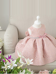 Ball Gown Short / Mini Flower Girl Dress - Lace Sleeveless Jewel with Bow(s)