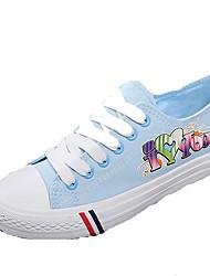 Feminino-Tênis-Conforto-Rasteiro-Azul / Branco-Jeans-Ar-Livre / Para Esporte