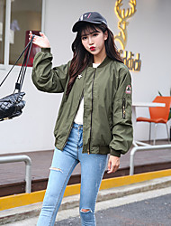 Women's Casual/Daily Street chic Fall Jackets,Embroidered Stand Long Sleeve Green Cotton Medium