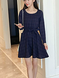 Women's Casual/Daily Simple A Line Dress,Plaid Round Neck Above Knee Long Sleeve Blue Rayon Fall