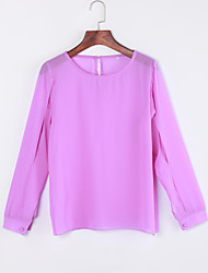Sexy All Seasons Blouse,Solid Round Neck Long Sleeve Blue / Pink Polyester Thin