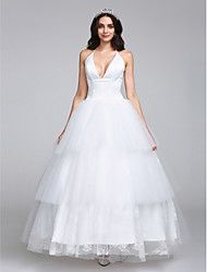 LAN TING BRIDE A-line Wedding Dress Vintage Inspired Ankle-length Halter Satin Tulle with Lace