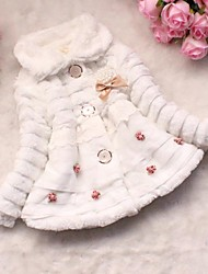 Girl's Casual/Daily Solid Down & Cotton Padded,Wool / Cotton Winter Pink / White / Yellow