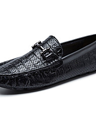 Masculino-Sapatos de Barco-Rasos-Rasteiro-Preto / Branco-Couro-Casual