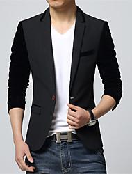 Men's Patchwork / Color Block Casual / Work Blazer,Cotton / Polyester Long Sleeve Black / Gray