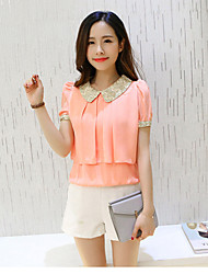 Women's Going out / Casual/Daily Simple / Cute Summer Blouse,Solid Shirt Collar Short Sleeve Pink / White Others Thin