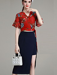 MIUCO Casual/Daily Simple Summer Set,Floral V Neck Short Sleeve Red / Black Polyester Thin