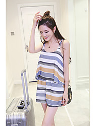 Women's Striped Multi-color Jumpsuits,Cute Strap Sleeveless