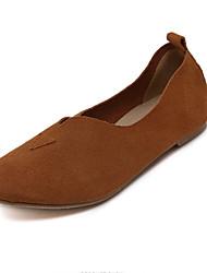 Черный / Коричневый / Серый-Женский-На каждый день-Наппа Leather-На плоской подошве-С круглым носком / На плокой подошве-На плокой подошве