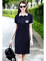Women's Sports Active T Shirt Dress,Print Shirt Collar Above Knee Short Sleeve Blue Polyester Summer