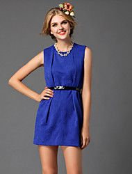 DREAMY LAND  Women's Going out Cute Sheath Dress,Solid Round Neck Mini Sleeveless Blue / Orange Polyester