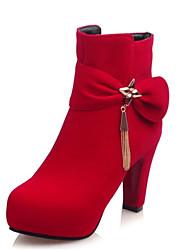 Women's Boots Spring / Fall / Winter Fashion Boots Fleece Wedding / Outdoor / Dress / Casual Chunky Heel Bowknot Black