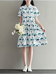 Women's Going out Simple A Line Dress,Print Shirt Collar Above Knee Short Sleeve Blue / Red Cotton Summer