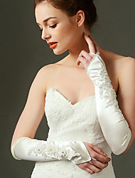 Elbow Length Fingerless Glove Elastic Satin Bridal Gloves with Beading / Appliques / Pearls