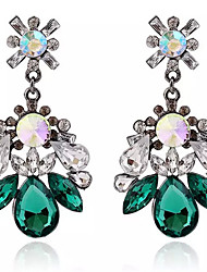 New Arrival Vintage Green Crystal Drop Earrings Jewelry Bohemian Flower Long Earrings For Womren