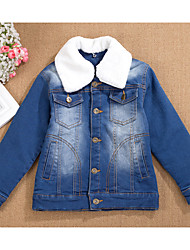 Boy's Cotton Spring/Autumn/Winter Fashion Fleece Lining Coat Denim Jacke