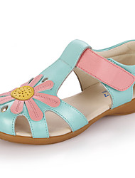 Girl's Sandals Summer Sandals / Open Toe Leather Casual Flat Heel Applique Blue / Pink / White Others