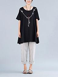 Damen Solide Einfach Lässig/Alltäglich T-shirt,Rundhalsausschnitt Sommer Kurzarm Schwarz Baumwolle Mittel