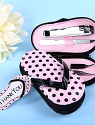 Bridesmaids / Bachelorette - 4 Piece Pedicure Kit With Pink Polka Dot Flip Flop Case Beter Gifts® Wedding Favors