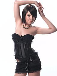 Damen Korsett Set Nachtwäsche,Push-Up einfarbig-Polyester Mittelmäßig Schwarz Damen