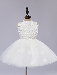 A-line Knee-length Flower Girl Dress - Satin / Tulle Sleeveless High Neck with Appliques / Pearl Detailing
