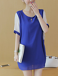 Women's Plus Size / Going out /  Loose Dress,Solid Round Neck Above Knee ½ Length Sleeve Blue / Pink / Black Polyester