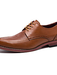 Черный / Бордовый / Кофе-Мужской-Для офиса / На каждый день-Наппа Leather-На плоской подошве-На плокой подошве-Туфли на шнуровке