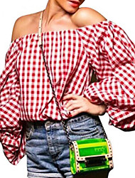 Women's Going out / Holiday Simple / Cute Fall T-shirt,Houndstooth Boat Neck ¾ Sleeve Red Polyester Opaque / Medium