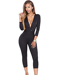Women's Knotted Plunging V Neck Jumpsuit