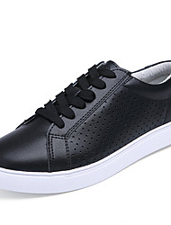 Women's Flats Spring/Summer/Fall/Winter Comfort/Styles/Round Toe/Closed Toe/Flats Cowhide Casual Flat Heel upBlack