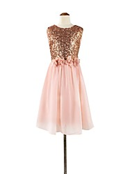 A-Line Tea Length Flower Girl Dress - Chiffon Sequined Sleeveless Jewel Neck with Flower