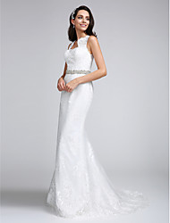 Trumpet / Mermaid Wedding Dress Court Train Sweetheart Lace with Beading / Lace