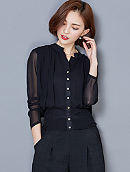 Summer/Fall Casual/Daily Women's Tops Solid Color Stand Collar Long Sleeve Slim Was Thin Chiffon Blouse Shirt