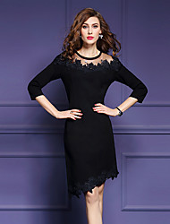 Women's Going out Street chic Bodycon Dress,Solid / Embroidered Round Neck Asymmetrical ¾ Sleeve Black Polyester Fall