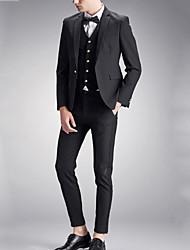 Men's Solid Work / Formal Set,Nylon / Spandex Long Sleeve Black / Blue / Red