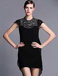 AOFULI Summer Fashion Women Vintage High Bead Loose Short Sleeve Plus Size Asymmetric Dress