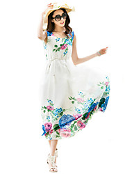 Women's Beach Boho A Line / Chiffon Dress,Floral Round Neck Maxi Sleeveless Blue / Yellow Cotton / Polyester Summer