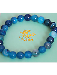 Strand Bracelets 1pc,Blue / Purple Bracelet Vintage Round 514 Agate Jewellery