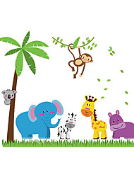 Wall Stickers Wall Decals Style Cartoon Elephant Monkey Coconut Tree PVC Wall Stickers
