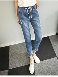 Pantalon Aux femmes Jeans / Chino / Mince Vintage Polyester Non Elastique
