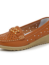 Women's Flats Spring / Summer Comfort Leather Casual Flat Heel Slip-on Brown / Yellow / White Walking